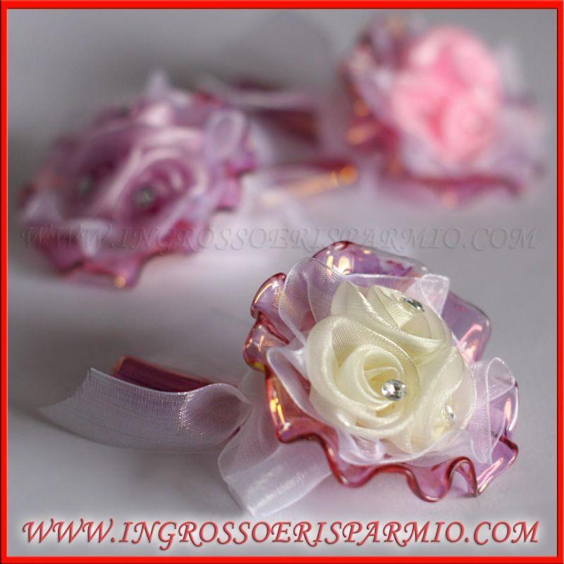 Cornucopia rosa moderna fiorellini e fiocchetto - Portafortuna fai da te ...