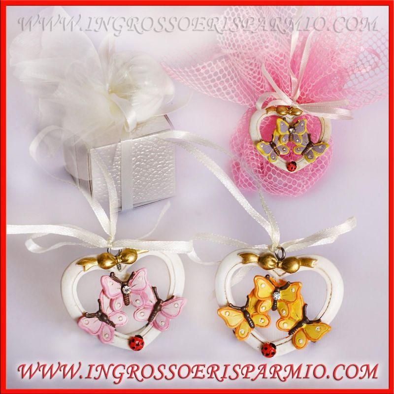 Matrimonio Tema Cuore : Appendini tema farfalle portafortuna a cuore comunione