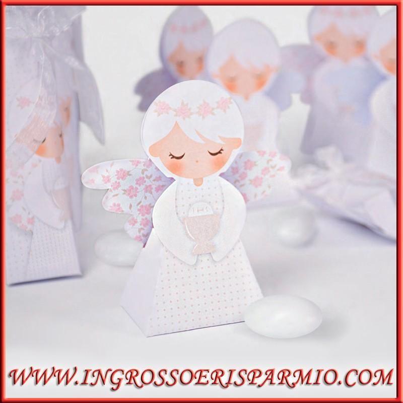 Scatoline angeli confettata comunione bimbi cartoncino for Vasi per confettata on line