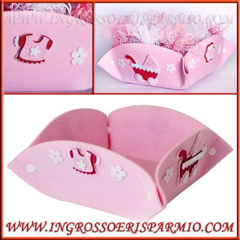 Cestini porta bomboniere rosa in feltro per nascita - Cestini porta bomboniere ...