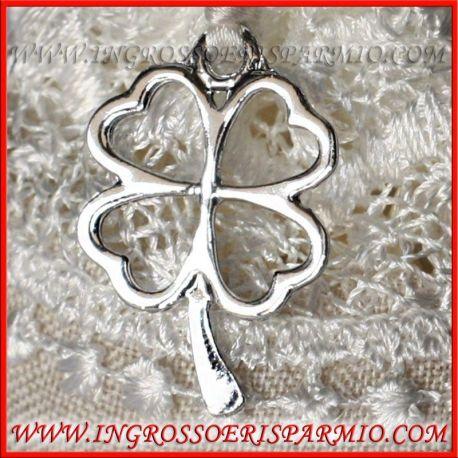 Ciondolo quadrifoglio portafortuna argentato per bijoux e - Portafortuna fai da te ...
