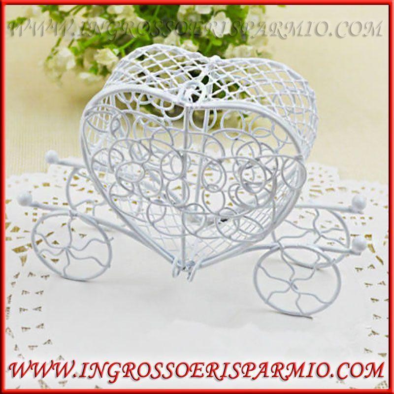 Matrimonio Tema Fiabe : Carrozza scatolina portaconfetti bianca tema fiabe