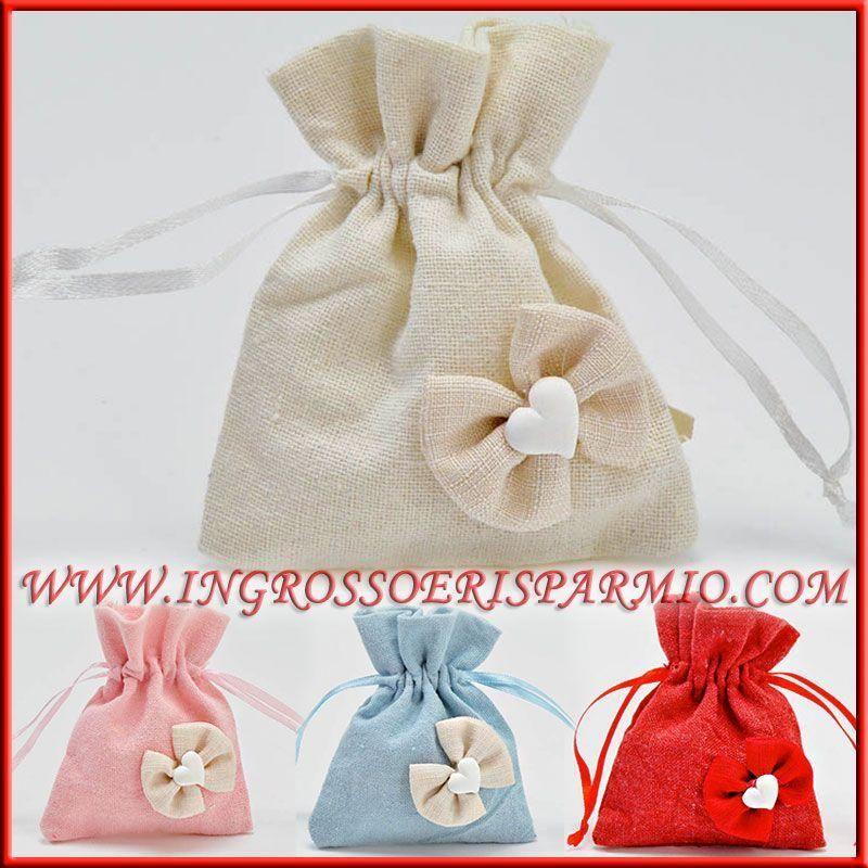 Matrimonio Tema Juta : Sacchetti juta per confetti bomboniere originali con cuore