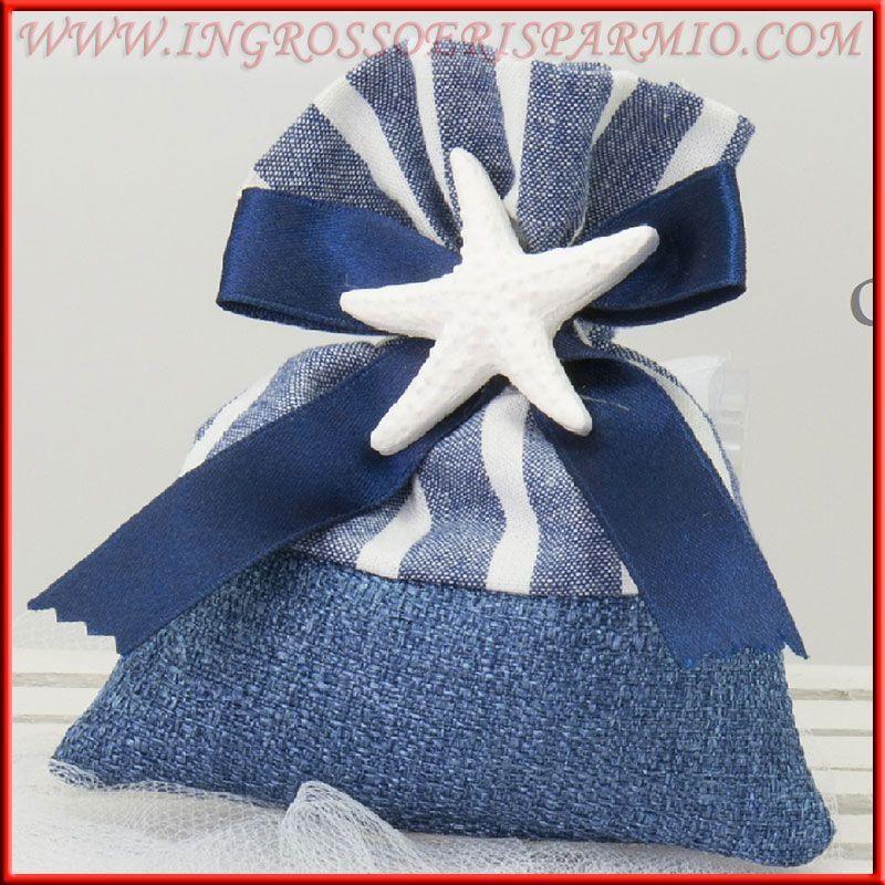 Matrimonio Tema Blu : Sacchetti con gessetti stella marina blu tema mare per