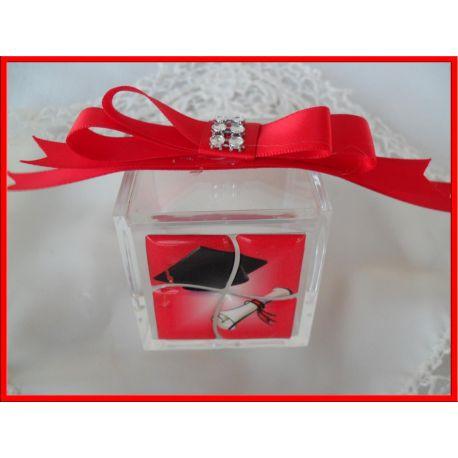 Confettata Laurea Tocco con Pergamena Scatola Plex + Fiocco