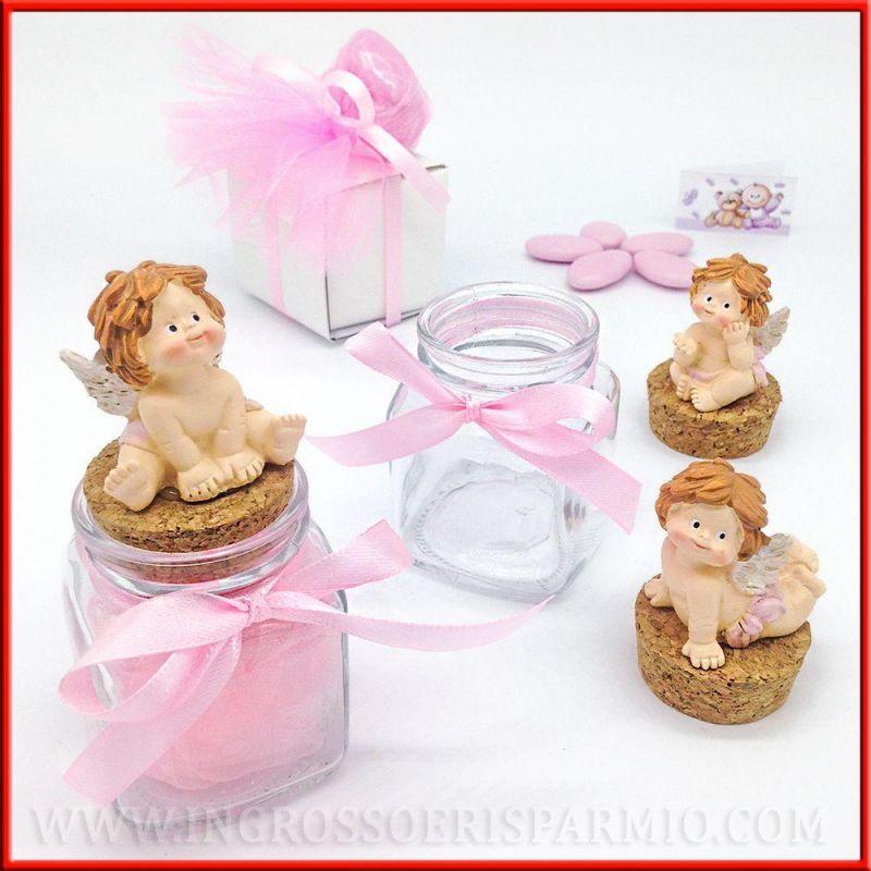 Barattoli porta confetti online con angioletti rosa for Vasi per confettata on line
