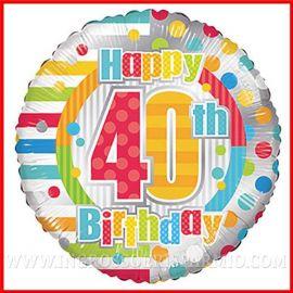 """PALLONCINI FESTA 40 ANNI STAMPA NUMERO QUARANTA """"HAPPY BIRTHDAY"""" 46 CM ADDOBBI COMPLEANNO PREZZI ONLINE"""
