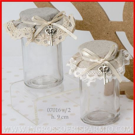 Barattoli vetro decorati stoffa merletto e ciondolo chiave - Barattoli decorati shabby ...