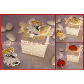 SCATOLINE PORTACONFETTI SPOSINI ANGIOLETTO MOLLETTINA WEDDING PLEXIGLASS