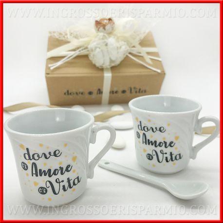 Bomboniere Matrimonio Tazzine.Set 2 Tazze Caffe Dove C E Amore C E Vita Matrimonio 2020