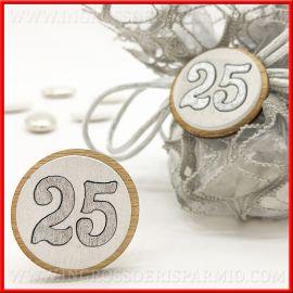 DECORAZIONI NUMERO 25 IN LEGNO ACCESSORI CONFEZIONI STOCK BOMBONIERE ANNIVERSARIO FAI DA TE
