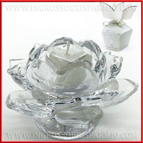Bomboniere Di Cristallo Per Matrimonio.Porta Candela In Vetro Cristallo Fiore Di Loto Per Matrimonio