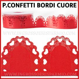 NASTRO PETALI PORTACONFETTI MARGHERITA IN RASO ROSSO E CUORI LOVE CONFETTATE MATRIMONIO LAUREA ORIGINALI FURLANIS WEDDING