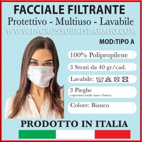 MASCHERINE PROTETTIVE LAVABILI 3 STRATI - 3 PIEGHE MADE IN ITALY PRODOTTO ITALIANO CERTIFICATO CORONAVIRUS ACQUISTO ONLINE