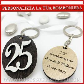 PORTACHIAVI 25° ANNIVERSARIO IN LEGNO PERSONALIZZABILI BOMBONIERE ORIGINALI ECONOMICHE
