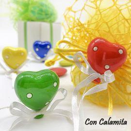 MAGNETE PALLONCINO CUORE 4 COLORI CALAMITE FRIGO ORIGINALI BOMBONIERE COMPLEANNO PREZZI BASSI