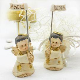 ANGELO IN RESINA AVORIO E ORO IDEE COMUNIONE MASCHIO/FEMMINA BOMBONIERE PENSIERINI BATTESIMO
