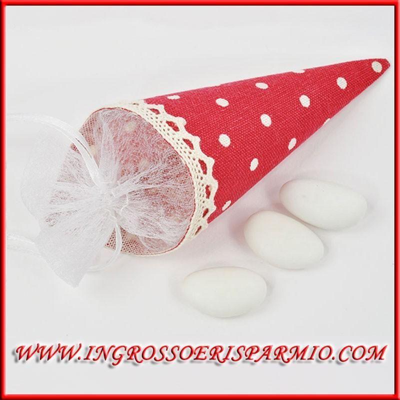 Matrimonio Tema Juta : Coni portaconfetti rossi a pois in juta porta riso petali