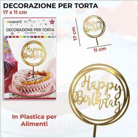 CAKE TOPPER SCRITTA HAPPY BIRTHDAY TONDO ORO GOLD ORIGINALI