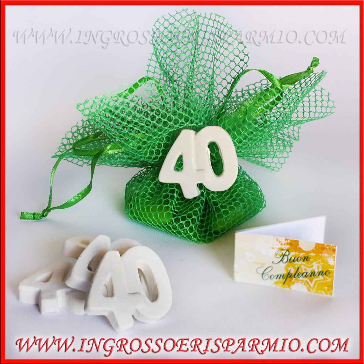 """Super GESSO BOMBONIERE NUMERO """"40"""" ANNI COMPLEANNO UOMO/DONNA - Ingrosso  YB34"""