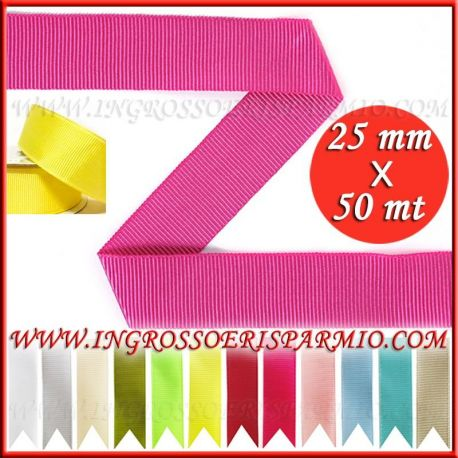 NASTRO GROSGRAIN 25 MM X 50 MT GRANDE CANNETE PREZZI ON LINE RIBBON FAVORS BIANCO ROSSO ROSA