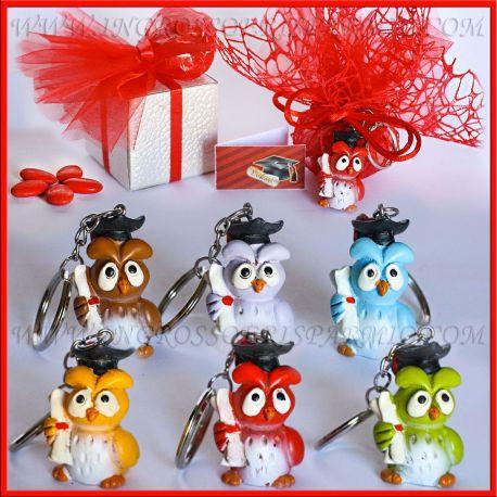 Portachiavi laurea gufi colorati resina idee online anche for Resina fai da te