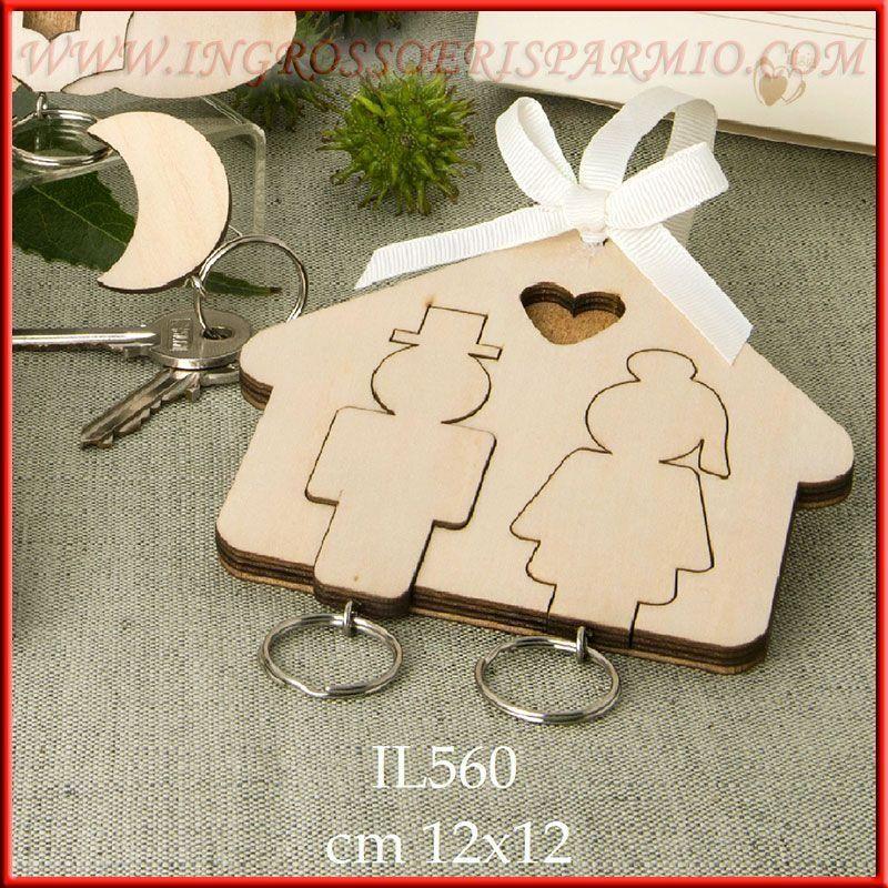 Portachiavi da parete in legno casetta con sposi lui e lei - Portachiavi da parete ...