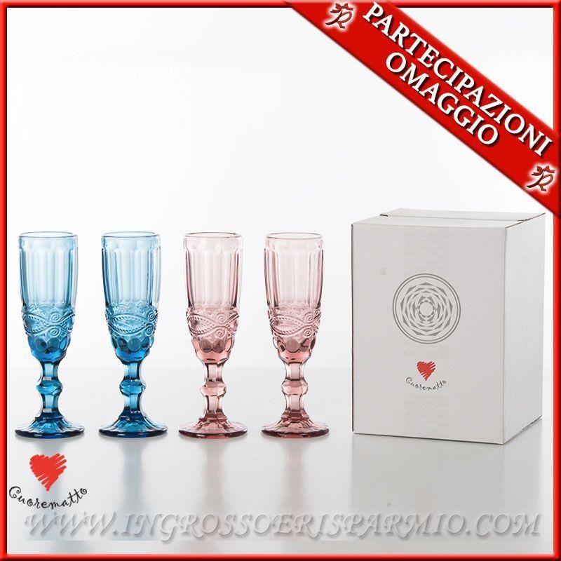 Bomboniere Matrimonio Bicchieri.Set Bicchieri Flute Bomboniere Solidali Cuorematto Prezzi Offerta