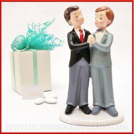 BOMBONIERE MATRIMONIO GAY STATUINE SPOSI NOZZE TRA UOMINI MR CAKE TOPPER WEDDING LGBT