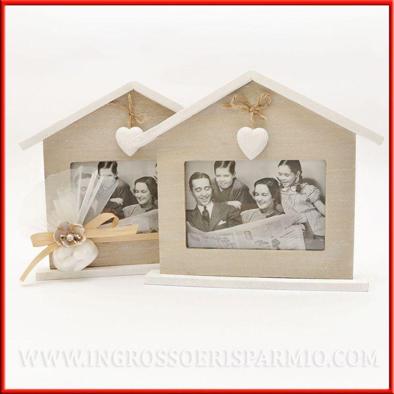 Cornice in legno portafoto shabby casetta home sweet home for Cornice foto legno