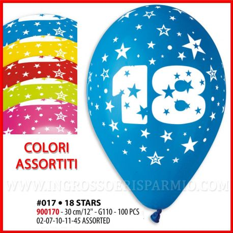 "PALLONCINI NUMERO 18 COLORATI COMPLEANNO DICIOTTANNI MULTICOLOR QUALITA' 12""/30CM BALLOON PARTY PREZZI OUTLET"