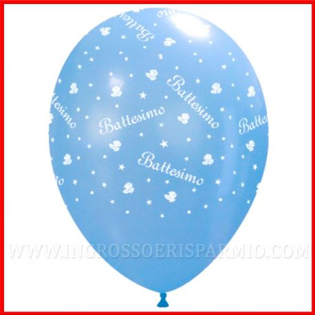 PALLONCINI BATTESIMO BAMBINO GRANDI 30CM LATTICE CELESTE CON SCRITTA ADDOBBI SALA PARTY FESTA PREZZI OFFERTA