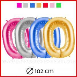 PALLONCINO A FORMA DI NUMERO ZERO 0 GRANDE 102 CM IN FOIL 1 METRO VERDE BLU FUCSIA ORO GOLD 10 20 30 40 50 60