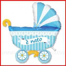 PALLONCINO CARROZZINA CELESTE 3D TRIDIMENSIONALE E' NATO BEBE' MASCHIO CELESTE GRANDE 1METRO NASCITA OFFERTA