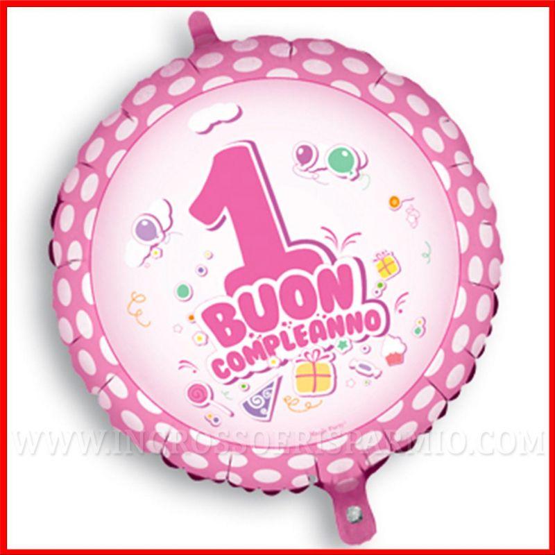 Palloncino 1 compleanno rosa 45cm idee articoli per feste for Addobbi per feste in piscina