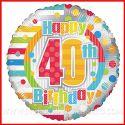 """PALLONCINI FESTA 40 ANNI STAMPA NUMERO E """"HAPPY BIRTHDAY"""" 46CM COMPLEANNO"""