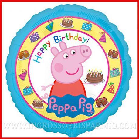 PALLONCINI PEPPA PIG TORTA DI COMPLEANNO CELESTE BAMBINO IN MYLAR METALLIZZATO 43CM ADDOBBI PARTY FESTE PREZZI BASSI