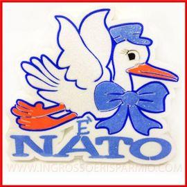 """POLISTIROLO DECORATIVO NASCITA MASCHIETTO CICOGNA """"E' NATO"""" PREZZI ECONOMICI CENTROTAVOLA FOTO FESTA PARTY"""