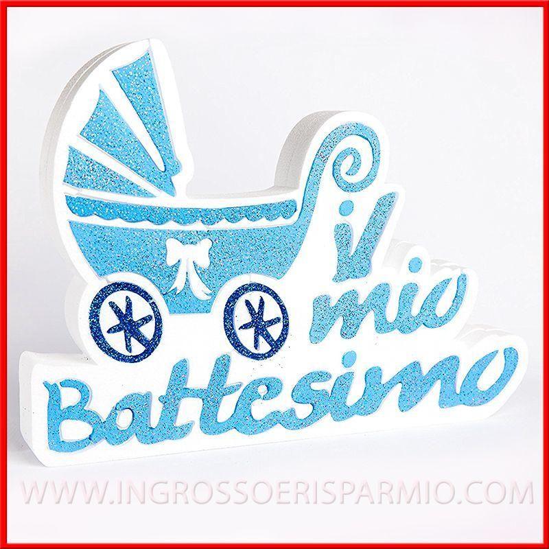 Polistirolo colorato decorazioni battesimo bambino celeste for Scritte in polistirolo prezzi