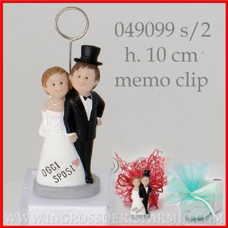 Bomboniere Matrimonio Divertenti.Memoclip Segnaposto Matrimonio Con Coppia Sposo Sposa Originali Ingrosso E Risparmio