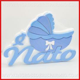 CENTROTAVOLA NASCITA BIMBO POLISTIROLO COLORATO A FORMA DI CULLA CARROZZINA CELESTE E' NATO DECORAZIONI