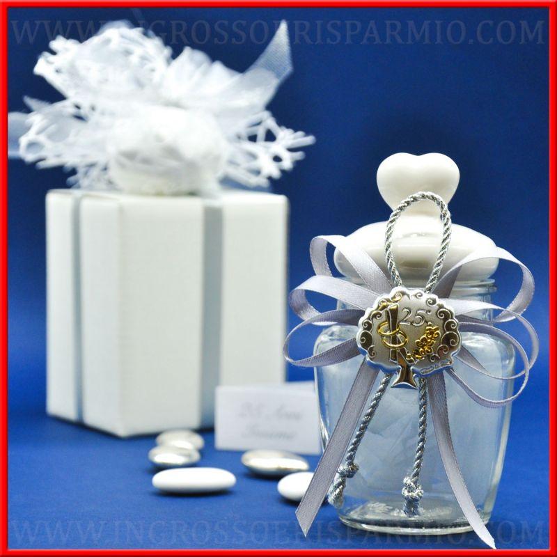 Barattoli di vetro nozze d 39 argento 25 anniversario for Idee regalo per 25 anni matrimonio
