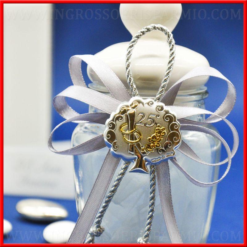 Barattoli di vetro nozze d 39 argento 25 anniversario for Bomboniere per i 25 anni di matrimonio