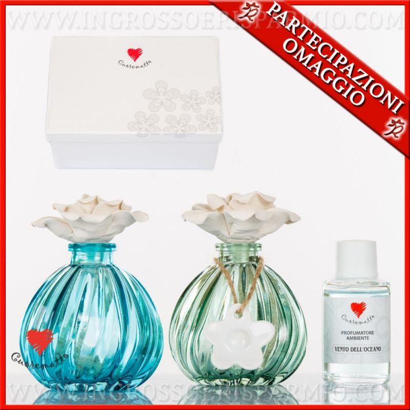 Bomboniera Matrimonio Azzurro : Profumatori ambiente cuorematto vetro verde azzurro