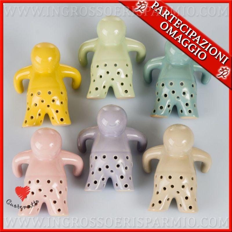 Omino infusore filtro the e tisane in ceramica colorata collezione cuorematto ingrosso e risparmio - Tisane per andare in bagno ...