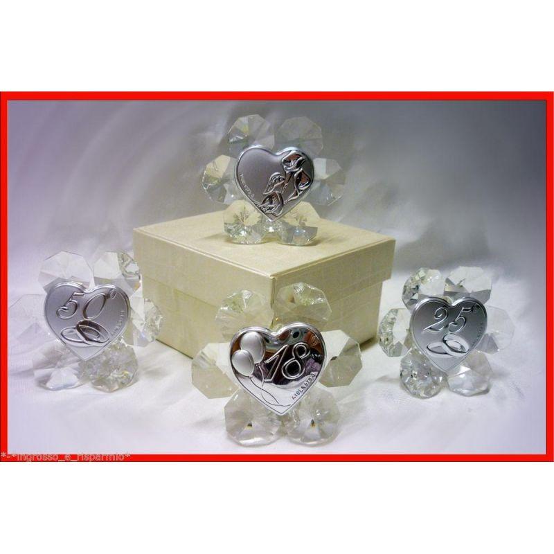 Bomboniere matrimonio nozze d 39 oro d 39 argento 18 anni cuore for Bomboniere per i 25 anni di matrimonio