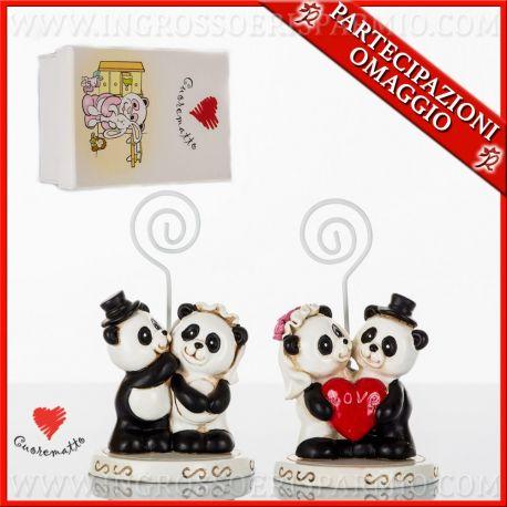 Bomboniere Simpatiche Matrimonio.Segnaposti Matrimonio Coppia Sposi Panda Bomboniere Economiche