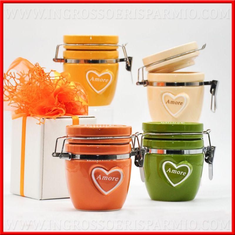 Barattoli ermetici in porcellana colorata amore - Barattoli cucina colorati ...