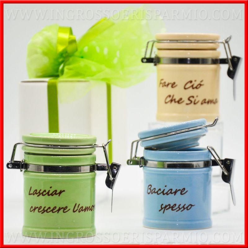 Portaspezie in ceramica barattoli cucina con frase - Barattoli cucina colorati ...