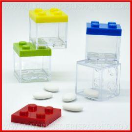 SCATOLINE PORTACONFETTI LEGO IN PLEXIGLASS MATTONCINI COSTRUZIONE COLORATE COMPLEANNO
